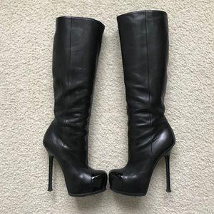 YSL Black Leather Tribtoo 105 knee Boots.Size 37.5